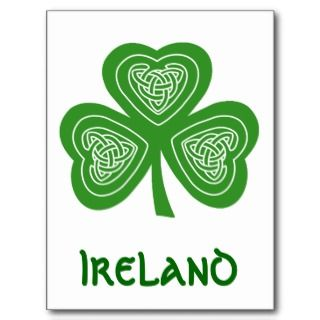Celtic Shamrock Leaf Irish Themed Design Post Cards