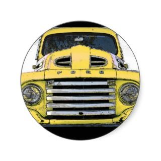 Vintage Yellow Ford Truck Round Stickers