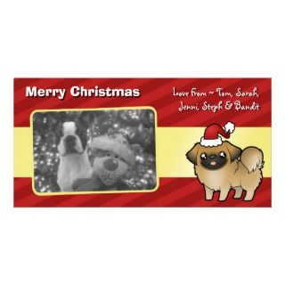 Christmas Pekingese (puppy cut) Photo Greeting Card