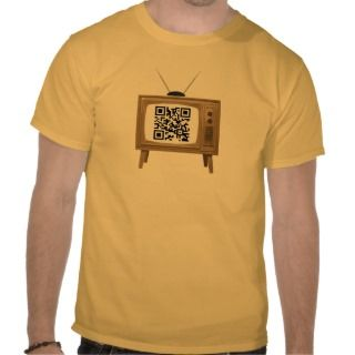 QR Code Old Fashioned TV T Shirt Template