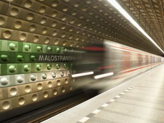 Metro Carriages Arriving at Malostranska Station, Mala Strana, Prague, Czech Republic, ope Photographic Print by Richard Nebesky