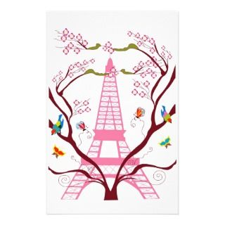 Eiffel tower in spring stationery
