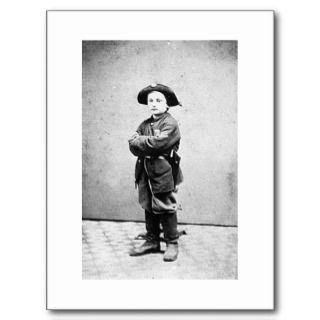 Portrait of a boy soldier c. 1860 1865. Civil War Post Cards
