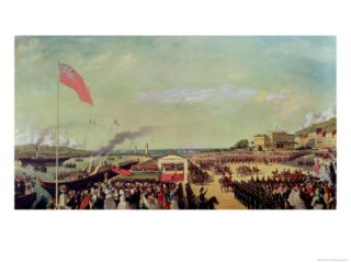 Napoleon III (1808 73) Welcoming Queen Victoria (1819 1901) at the Port of Boulogne Giclee Print by Louis Armand