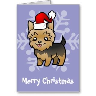 Christmas Yorkie (puppy cut) cards by SugarVsSpice