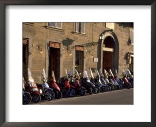 Scooters Lined Up Along Street, Florence, Italy Pre made Frame