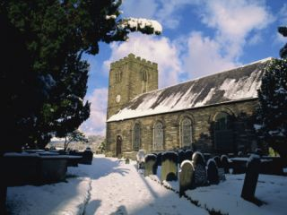 St Marys Anglican Church in Winter, Dolgellau Town, Gwynedd, Snowdonia National Park, Wales Photographic Print by Maxwell Duncan