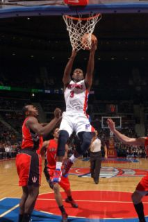 Toronto Raptors v Detroit Pistons: Rodney Stuckey and Joey Dorsey Photographic Print by Allen Einstein