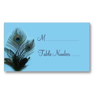 Peacock Place Card (turquoise) Business Card Templates