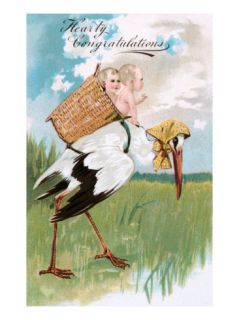Hearty Congratulations, Stork and Babies Giclee Print