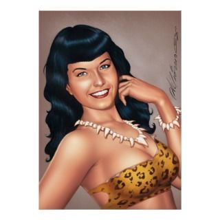 Bettie Page in Jungle Girl Outfit by Al Rio posters by bettiepage