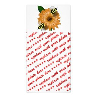 Cartoon Honey Bees Meeting on Orange Flower Picture Card