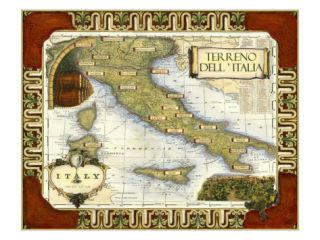 Wine Map of Italy Giclee Print