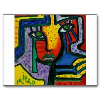 Abstract Wood painting Postcard