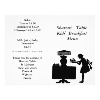 Restaurant Supplies, Kids Breakfast Menu Customize Personalized Flyer