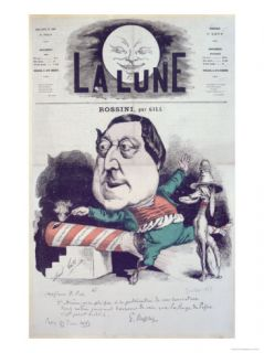 La Lune Magazine Featuring a Caricature of Rossini, Message and Autograph of the Composer, 1867 Giclee Print by André Gill