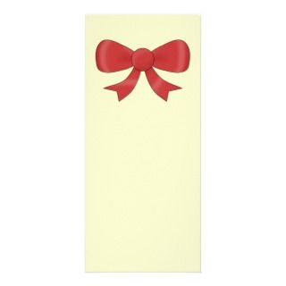 Red Ribbon Bow. On Cream. Full Color Rack Card