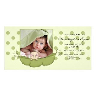 Sweet Little Pea Baby Boy Birth Annoucement Personalized Photo Card