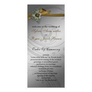 FAUX ribbon gold Wedding program Full Color Rack Card