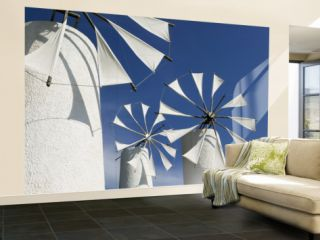 Traditional Cretan Windmills, Ano Kera, Iraklio Province, Crete, Greece Wall Mural – Large by Walter Bibikow