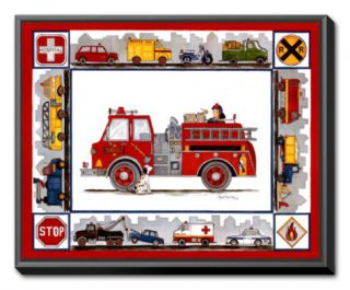 Rescue Trucks Framed Canvas Print by Marnie Bishop Elmer