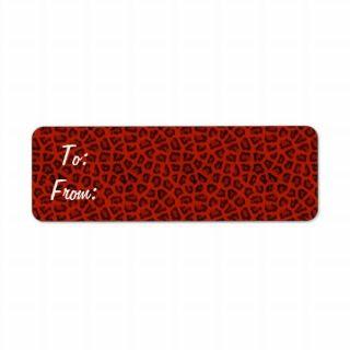 Red Leopard Gift Tag Stickers Custom Return Address Labels