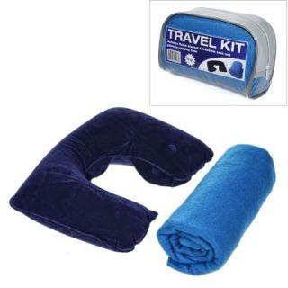 Fleece Blanket & Inflatable Neck Pillow Travel Kit American Airlines