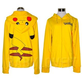 Japan Pokemon Pikachu Ears Face Tail Zip Hoodie Hoody Sweatshirt