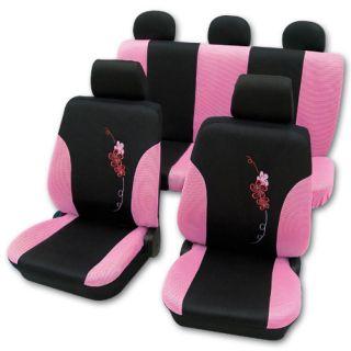 Ford Ka 1996 2008 Pink / Black Flower Sitzbezüge Airbag kompatibel