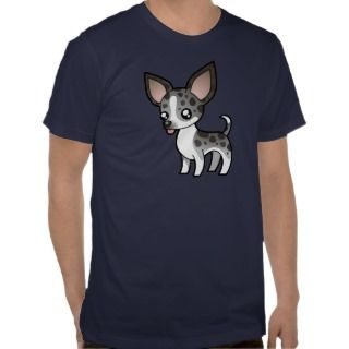Cartoon Chihuahua (merle smooth coat) t shirts by SugarVsSpice