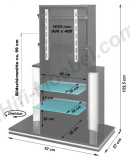 25   TV Rack/Tisch   drehbar   LED Beleuchtung Hochglanz Schwarz oder