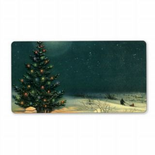 Vintage Christmas Tree at Night Lights Snow Winter Shipping Label