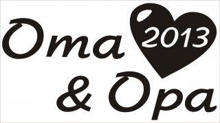 Oma und Opa 2013 Aufkleber mit Herz KFZ Boot schwarz Geschenkidee