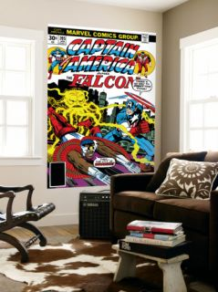 Captain America And The Falcon #205 Cover Captain America, Falcon and Agron Fighting and Flying Laminated Oversized Art by Jack Kirby