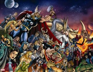 Thor #85 Group Thor, Hulk, Loki, Thanos, Beta Ray Bill and Odin Fighting Stretched Canvas Print by Di Vito Andrea