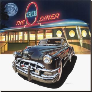 Pontiac Chieftain 50 at The Circle Diner Stretched Canvas Print by Graham Reynold