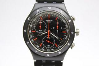 New Swatch Men Irony Chrono Black Coat Aluminum Band Watch Date 40mm