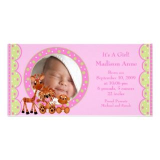 Baby Animals PHOTO Girl Birth Announcement Custom Photo Card