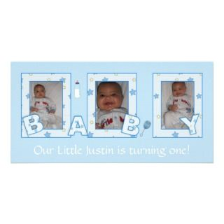 Baby Boy Birthday Photocard Picture Card