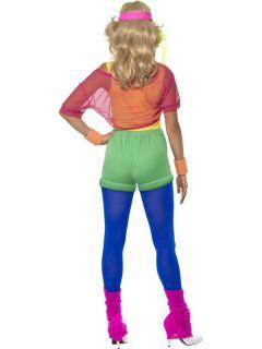 80er Jahre Kostüm Nena Kleid Aerobic Popstar Stirnband für Damen