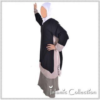 Tunic Tunika Schwarz / Beige Oberteil Abaya Jilbab Islamische Kleidung