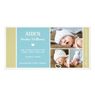 COLOR BLOCK  BABY BOY BIRTH ANNOUNCEMENT CUSTOMIZED PHOTO CARD