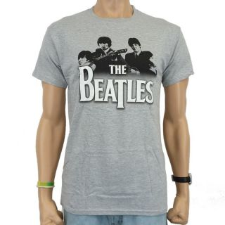 The Beatles   Band over Logo Band T Shirt, grau meliert