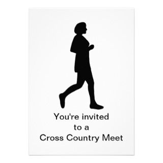 Female Silhouette Runner Cross Country Invitations