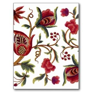 Traditional Jacobean Embroidery Pattern Post Card