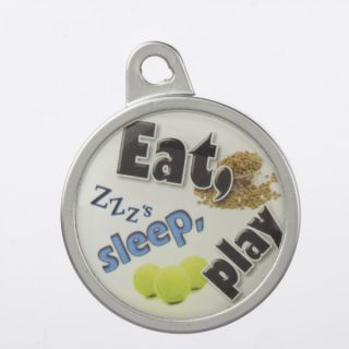 "TagWorks Personalized Dome ""Eat, Sleep, Play"" Pet Tag   ID Tags   Collars, Harnesses & Leashes"