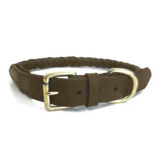Platinum Pets Roped Leather Dog Collar   Brown