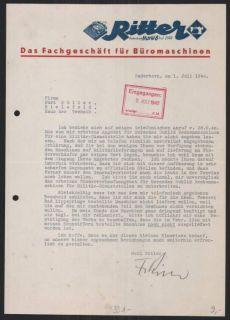 Briefkopf Paderborn 1940, Ritter Büromaschinen, Erika Schreibmaschine
