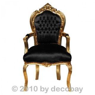 Stuhl Antik Prunk Barock Arm lehne schwarz gold Essen