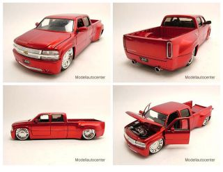 Chevrolet Silverado Dooley Pick Up 1999 rot, Modellauto 124 / Jada